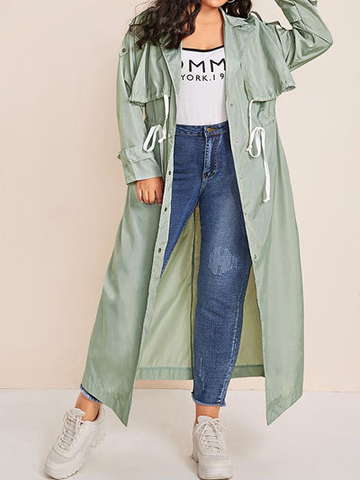 Plus Size Solid Color Long Sleeves Drawstring Long Coat
