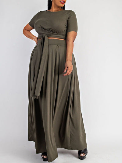 Hot-sale Plus Size Solid Color Short Sleeve Casual Maxi Dress