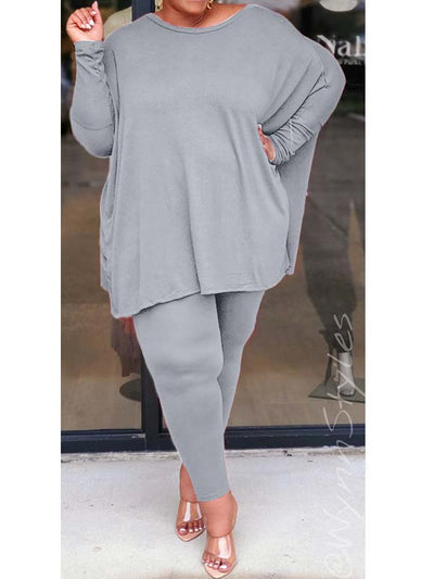 Plus Size Solid Color Crew Neck Long Sleeve Casual Pant Sets