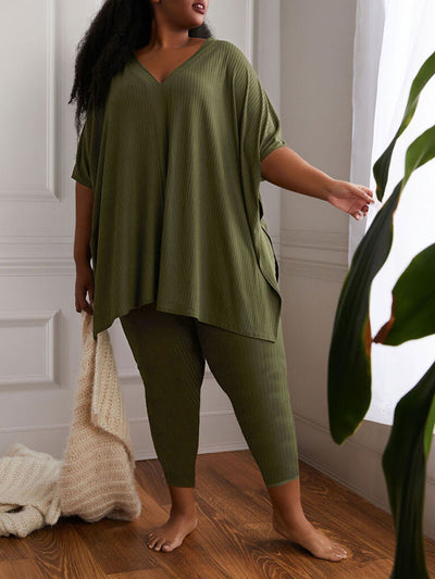 Plus Size Solid Color V Neck Long Sleeve Casual Pant Sets