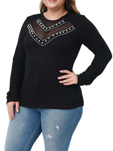 Women Plus Size Solid Color Crew Neck Hollow Out Long Sleeve Casual T-Shirts
