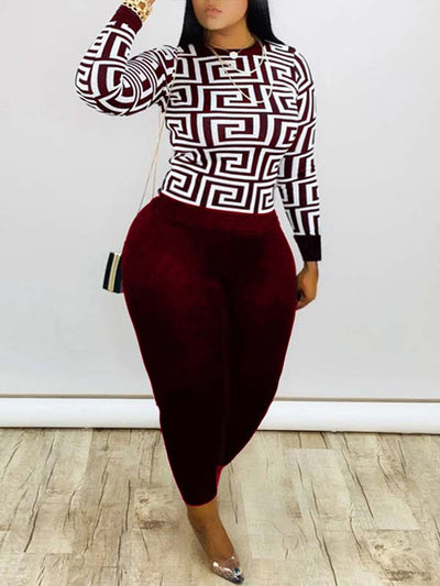 Women Plus Size Print Long Sleeve Casual Two Piece Suits