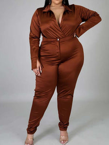 Women Plus Size Solid Color V Neck Long Sleeve Casual Two Piece Suits