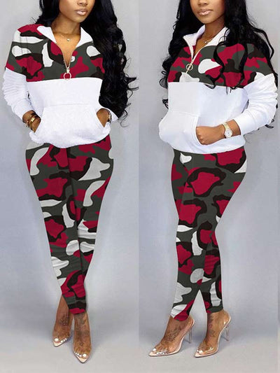Women Plus Size Camouflage Long Sleeve Casual Two Piece Suits