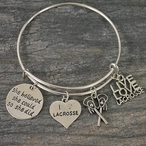 Girls Lacrosse Charm Bangle Bracelet Gift - Infinity Collection