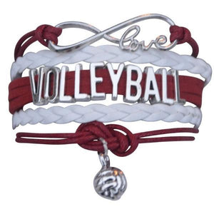 Volleyball Infinity Bracelet- Maroon - Infinity Collection