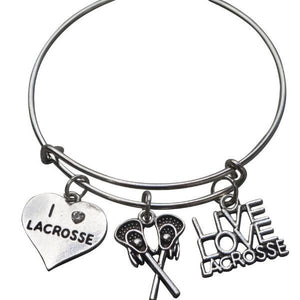 Girls Lacrosse Charm Bangle Bracelet - Infinity Collection