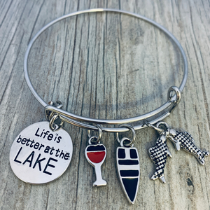 Life is Better at the Lake Bracelet, Lake Jewelry with Wine Charm - Infinity Collection
