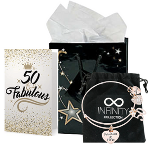 50th Birthday Bracelet, Card and Gift Bag Set for Women - Infinity Collection