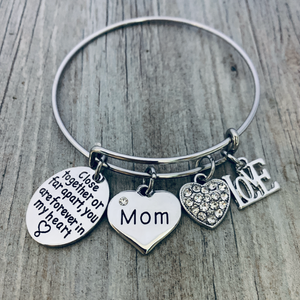 Mom Charm Bangle Bracelet for Women- Side By Side or Miles Apart, We are Connected By the Heart Jewelry