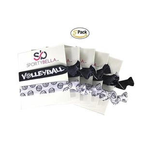 Volleyball Hair Ties - 5 pack - Black White - Infinity Collection