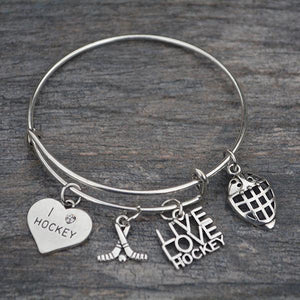 Girls Hockey Goalie Bangle Bracelet - Infinity Collection