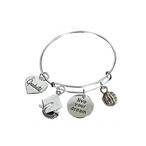 Volleyball Graduation Live Your Dream Bangle Bracelet - Infinity Collection