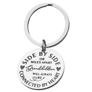 grandma Keychain - Side By Side or Miles Apart Grandchildren are Always Connected at Heart Gift