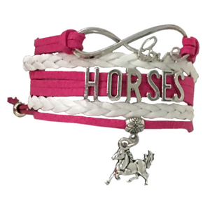 Horse Infinity Charm Bracelet - Pink - Infinity Collection