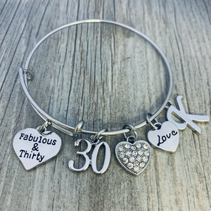 Personalized 30th Birthday Charm Bracelet, Women's Fabulous & Thirty Jewelry Gift - Infinity Collection