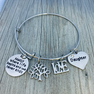 Family Tree Bracelet, Family Where Life Begins And Love Never Ends- Pick Charm