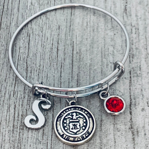 personalized Air Force Charm Bangle Bracelet