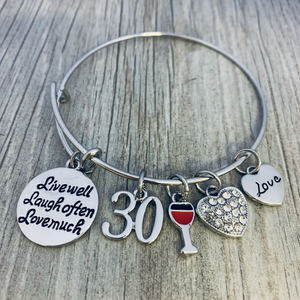 30th Birthday Charm Bracelet, Women's Live Laugh Love Jewelry Gift - Infinity Collection