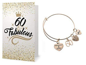 60th Birthday Rose Gold Charm Bracelet & Card Gift Set, 60th Birthday Gifts for Women - Infinity Collection