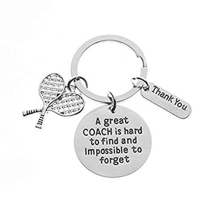 Infinity Collection Tennis Coach Keychain, Tennis Coach Gifts, Great Coach is Hard to Find Coach Keychain - Infinity Collection
