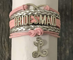 Personalized Pink Bridesmaid Bracelet with Initial Letter Charm, Custom Bridesmaid Gifts, Bridesmaid Jewelry-Makes the Perfect Gift For Bridesmaids - Infinity Collection