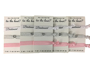 Bridesmaid Hair Ties, Bridesmaid Proposal Gifts-5 Pack Pink Ribbon Hair Ties No Crease Elastics Handtied Ouchless Ponytail Holders Hair Band Bracelet Favors for Bachelorette Parties, Bridal Showers - Infinity Collection