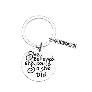Air Force Keychain - She Believed She Could So She Did Keychain, Inspirational Military Key Ring - Infinity Collection