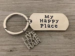 Infinity Collection Live Love Hair Charm with engraved My Happy Place Key chain, Perfect Gift for Hair Stylists and Hair Dressers - Infinity Collection