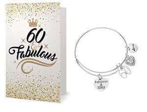 60th Birthday Charm Bracelet & Card Gift Set, 60th Birthday Gifts for Women - Infinity Collection