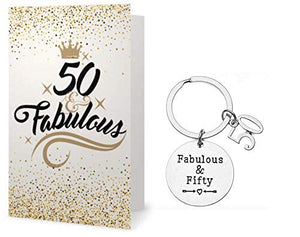 50th Birthday Keychain & Card Gift Set - Infinity Collection