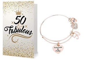 50th Birthday Bracelet and Card Gift Set for Women - Infinity Collection