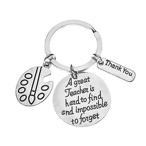 Art Teacher Keychain -Art Jewelry for Art Instructors, A Great Art Teacher is Hard to Find but Impossible to Forget - Infinity Collection
