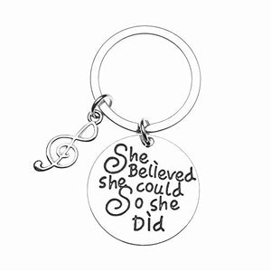 Music Keychain Gift - Musically She Believed She Could So She Did Keychain- Treble Clef Jewelry, Perfect Music Lover Gifts - Infinity Collection