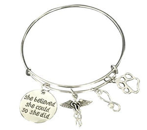 Veterinarian Bracelet, Technician Gifts- She Believed She Could so She Did Bracelet - Infinity Collection