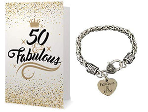 50th Birthday Bracelet & Card Gift Set for Women - Infinity Collection