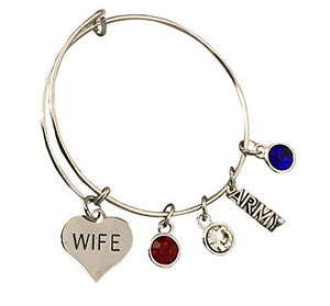 Army Wife Jewelry, Army Wife Bracelet, Proud Army Wife Charm Bracelet - Makes Perfect Wife Gifts - Infinity Collection