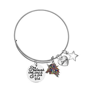 Unicorn Charm Bangle Bracelet, Unicorn She Believed She Could So She Did Bangle, Unicorn Gift - Infinity Collection