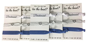 Bridesmaid Hair Ties, Bridesmaid Proposal Gifts-5 Pack Navy Ribbon Hair Ties KIT No Crease Elastics Handtied Ouchless Ponytail Holders Hair Band Favors for Bachelorette Parties & Bridal Showers - Infinity Collection