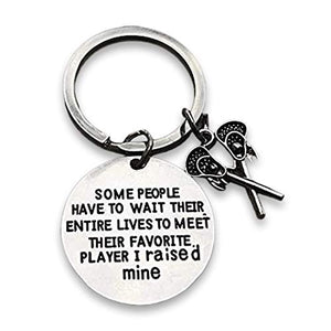 Lacrosse Mom or Dad Keychain- Some People Have to Wait Their Entire Lives to Meet Their Favorite Player, I Raised Mine. Gift for Lacrosse Parents - Infinity Collection