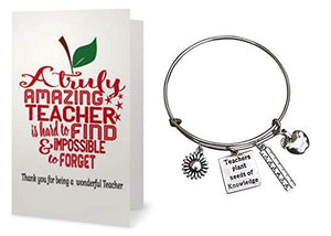 Teacher Bangle Bracelet and Card Gift Set- Teacher Jewelry, Teacher Gift, Show Your Teacher Appreciation Thank You Gifts for Teachers - Infinity Collection