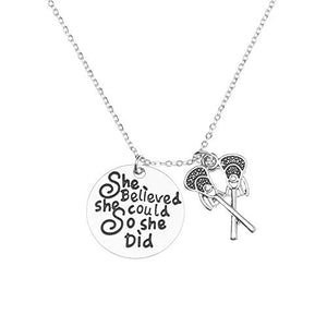 Lacrosse Necklace, Lacrosse She Believed She Could So She Did Jewelry for Lacrosse Players - Infinity Collection