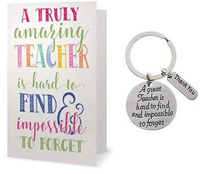 Teacher Keychain & Card Gift Set, Great Teacher is Hard to Find But Impossible to Forget, Teacher Jewelry Gift - Show Your Teacher Appreciation - Infinity Collection