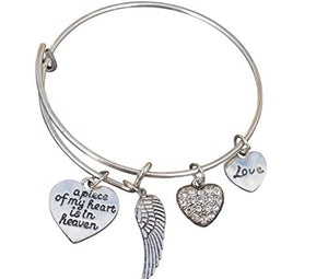 Memorial Jewelry, Memorial Bracelet, A Piece of My Heart is in Heaven Bangle Bracelet - Infinity Collection