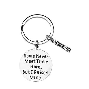Air Force Mom - Dad Charm Keychain, Raised Hero Jewelry, United Stated Airforce Gift, Military Mother - Father Keychain - Infinity Collection
