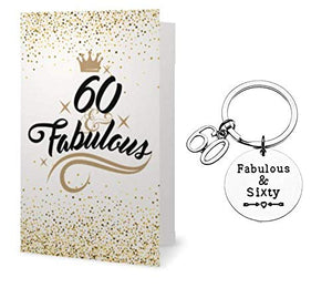 60th Birthday Keychain & Card Gift Set - Infinity Collection