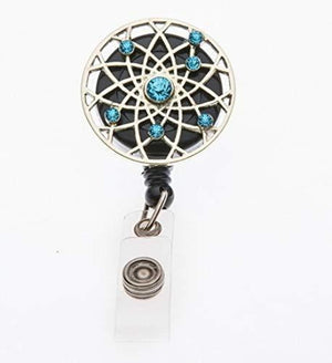 Turquoise Rhinestone Retractable ID Badge Reel Swivel Clip Badge Holder - Infinity Collection