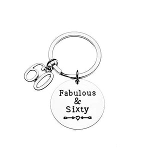 Fabulous and Sixty Keychain. 60th Birthday Gifts for Men & Women - Infinity Collection