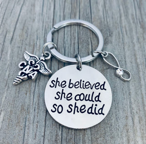 Nurse Keychain - She Believed She Could So She Did - Pick Charm - Infinity Collection