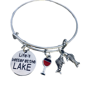 Life is Better at the Lake Bracelet, Lake Jewelry, Gift for Lake Girls - Infinity Collection